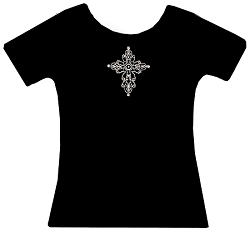 Ornate Cross Inspirational Rhinestone Tee Shirt